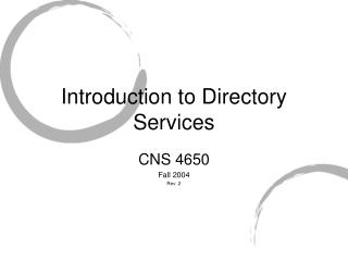 Introduction to Directory Services