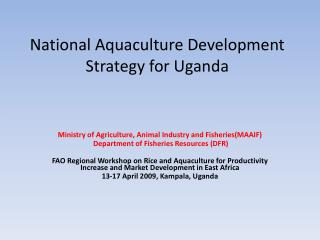National Aquaculture Development Strategy for Uganda