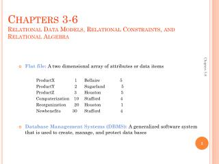Chapters 3-6 Relational Data Models, Relational Constraints, and Relational Algebra