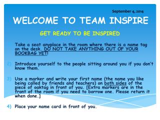 WELCOME TO TEAM INSPIRE