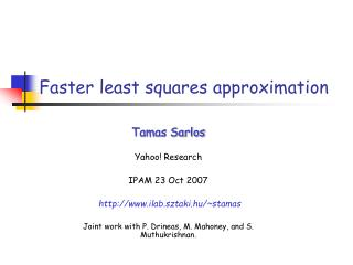 Faster least squares approximation
