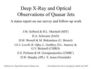 Deep X-Ray and Optical Observations of Quasar Jets