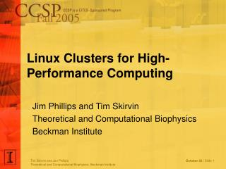 Linux Clusters for High-Performance Computing