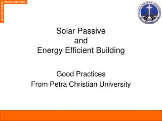 Solar Passive  and  Energy Efficient Building