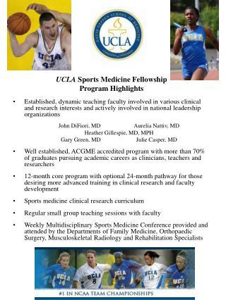 UCLA Sports Medicine Fellowship Program Highlights