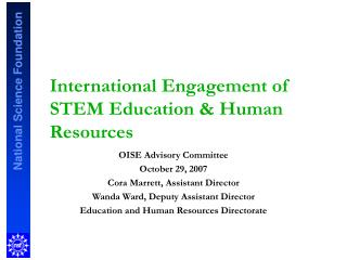 International Engagement of STEM Education & Human Resources