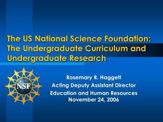 The US National Science Foundation:  The Undergraduate Curriculum and Undergraduate Research
