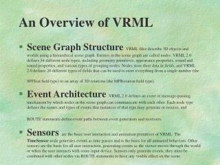 An Overview of VRML