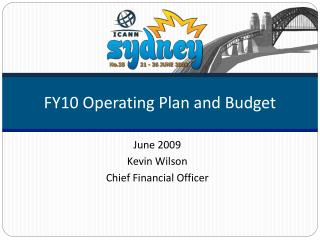 FY10 Operating Plan and Budget