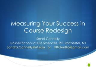 Measuring Your Success in Course Redesign