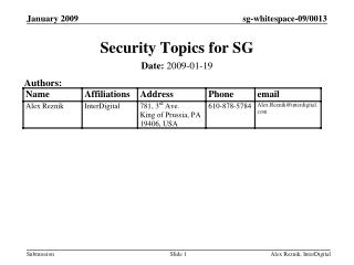 Security Topics for SG