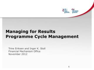 Managing  for  Results Programme Cycle Management