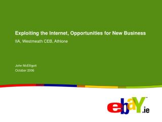 Exploiting the Internet, Opportunities for New Business