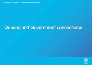 Queensland Government concessions