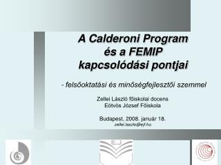 A Calderoni Program és a FEMIP kapcsolódási pontjai