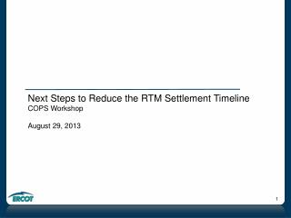 Next Steps to Reduce the RTM Settlement Timeline COPS Workshop August 29, 2013