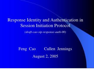 Response Identity and Authentication in Session Initiation Protocol
