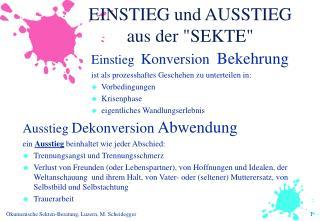 """EINSTIEG und AUSSTIEG aus der """"SEKTE"""""""