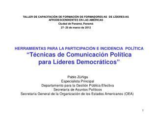 Pablo Zúñiga Especialista Principal Departamento para la Gestión Pública Efectiva