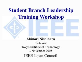 Student Branch Leadership Training Workshop