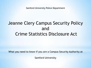 Samford University Police Department Jeanne Clery Campus Security Policy and