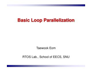 Basic Loop Parallelization