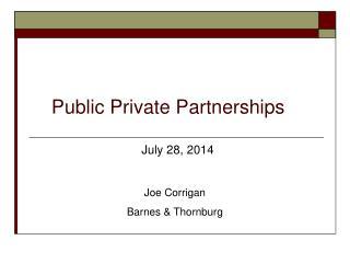 Public P rivate Partnerships