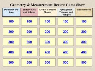 Geometry & Measurement Review Game Show