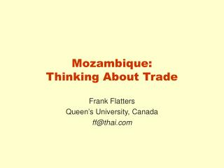 Mozambique:  Thinking About Trade