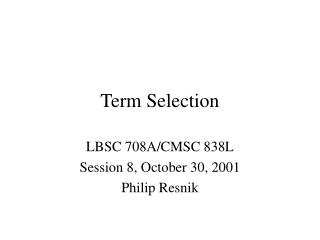 Term Selection