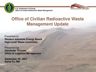 Office of Civilian Radioactive Waste Management Update