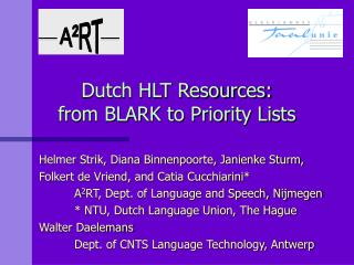 Dutch HLT Resources:  from BLARK to Priority Lists