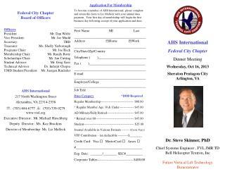 AHS International Federal City Chapter Dinner Meeting Wednesday, Oct 16, 2013