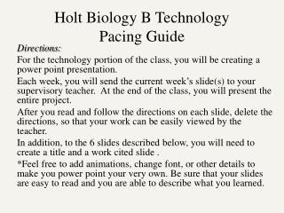 Holt Biology B Technology  Pacing Guide