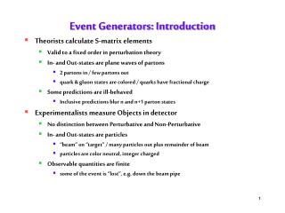 Event Generators: Introduction