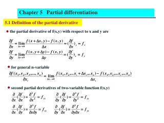 5.1 Definition of the partial derivative
