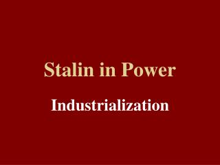 Stalin in Power