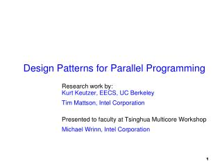 Design Patterns for Parallel Programming
