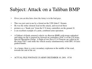 Subject: Attack on a Taliban BMP