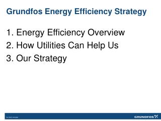 Grundfos Energy Efficiency Strategy