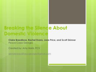 Breaking the Silence About Domestic Violence