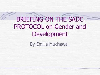BRIEFING ON THE SADC PROTOCOL on Gender and Development