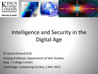 Intelligence and Security in the Digital Age