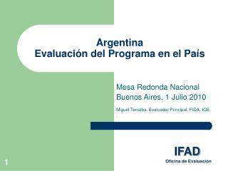 Argentina Evaluación del Programa en el País