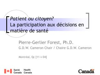 Patient ou citoyen? La participation aux décisions en matière de santé