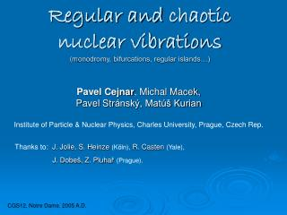 Regular and chaotic  nuclear vibrations ( m onodromy, bifurcations, regular islands…)