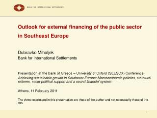 Outlook for external financing of the public sector  in Southeast Europe