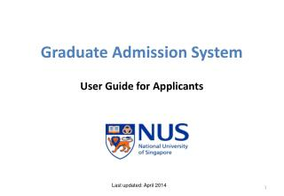 Graduate Admission System User Guide for Applicants