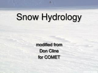 Snow Hydrology