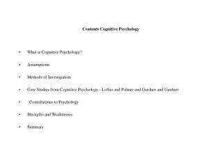 Contents Cognitive Psychology